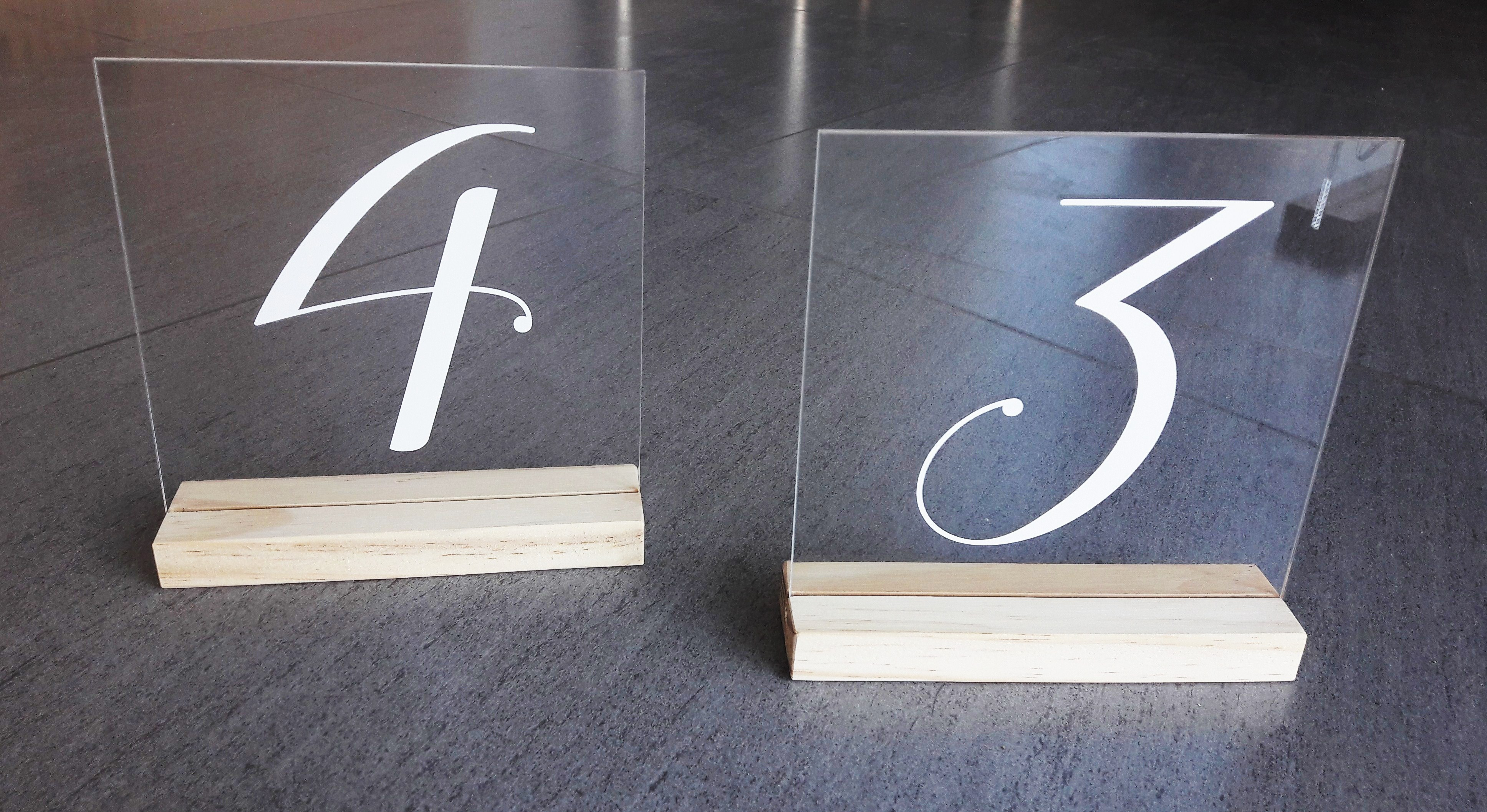Clear Perspex Table Numbers