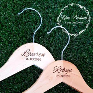 engraved-wedding-hanger-wood