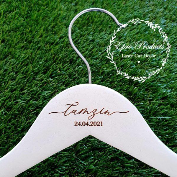 white-engraved-wedding-hanger